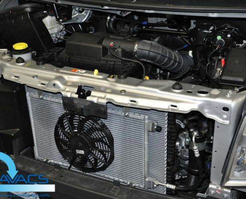 motorhome air-conditioning retrofit engine bay view